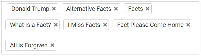 Screenshot of YouTube video's tags, including keywords such as 'Donald Trump', 'Alternative Facts', and 'I Miss Facts'